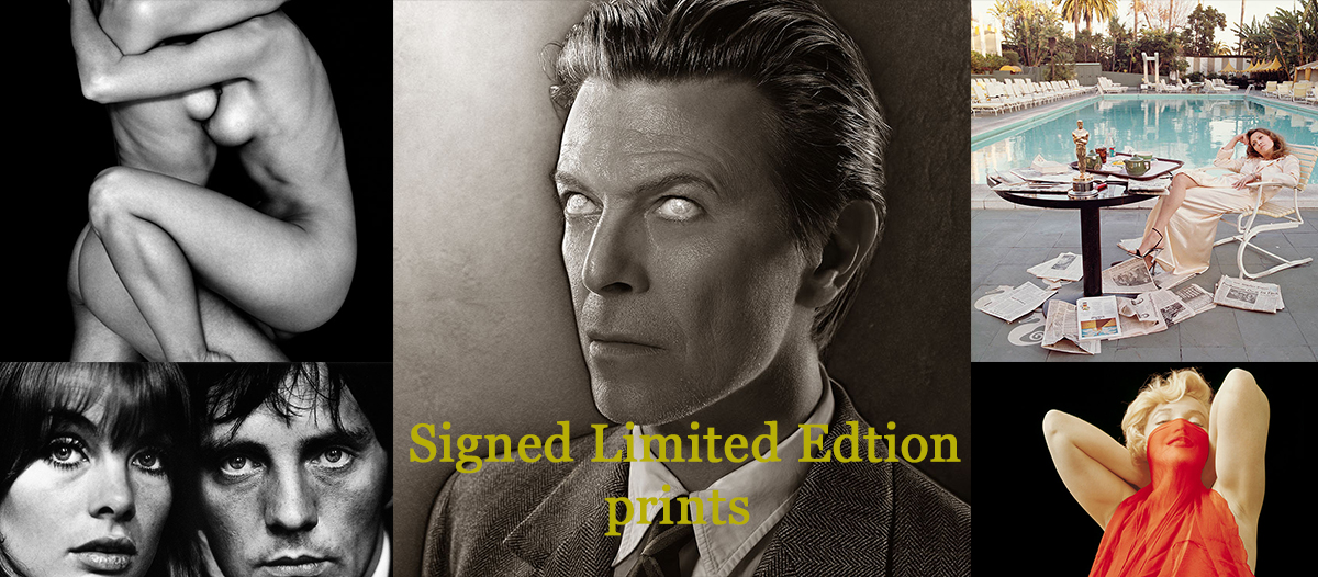 Signed limited edition prints by Terry O'Neill, Milton H. Greene, John Swannell and many more featuring famous portraits of David Bowie, Terence Stamp with Jean Shrimpton and Faye Dunaway Oscar Ennui photograph as well as Marilyn Monroe.
