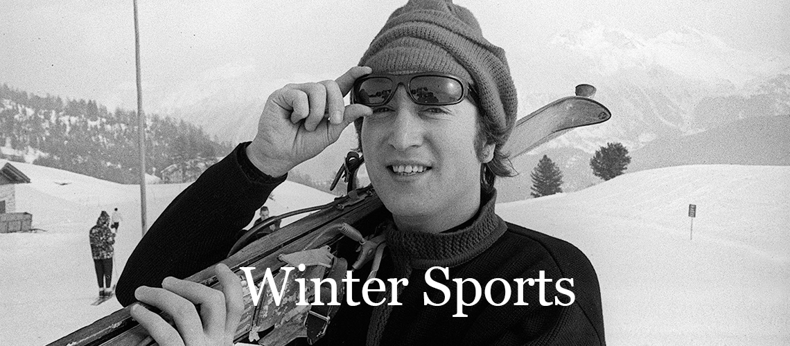 John Lennon in St Moritz on a Skiing Holiday, January 1965. (Photo Daily Herald / Mirror Trinity Group Archives) Winter Sports and Snow activities.