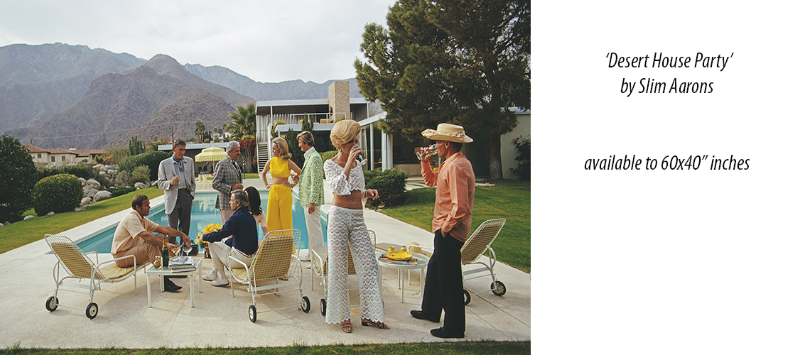 Desert House Party 1970 Palm Springs by Slim Aarons Poolsode Gossip The Slim Aarons Collection Kaufmann House Kaufman official Slim Aarons prints