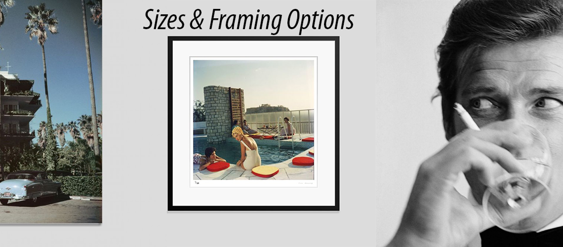 framing options bespoke framing Roger moore Shaken Not Stirred Slim Aarons Penthouse Pool Beverly Hills Hotel