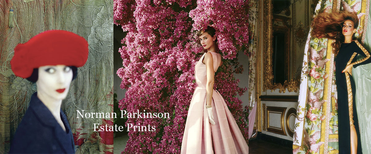 Norman Parkinson Limited Edition Estate Fashion Prints featuring Audrey Hepburn, Jerry Hall, Adele Collins and many more by the famous Vogue fashion photographer.