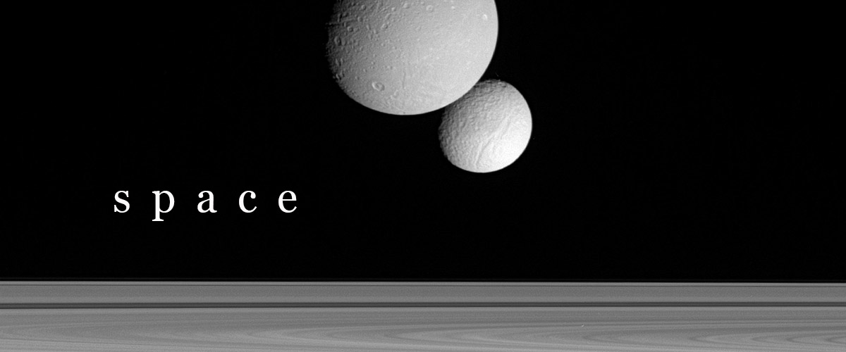 Cassini image of two of Saturn's moons Dione (upper) and Tethys (lower). The planet's rings are seen across the lower frame. Dione has a diameter of 1130 kilometres and is the densest of Saturn's moons. Tethys has a diameter of 1060 kilometres and is composed almost entirely of pure water ice. The Cassini-Huygens spacecraft was launched in 1997 to investigate Saturn, its rings and its moons. This image was taken by Cassini's narrow-angle camera on the 22nd September 2005 at a distance of 860,000 kilometres from Dione and 1.5 million kilometres from Tehtys. (Photo by Science Photo Library)