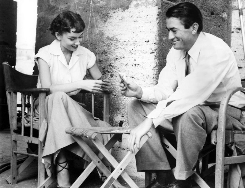 Audrey Hepburn & Gregory Peck Play Cards