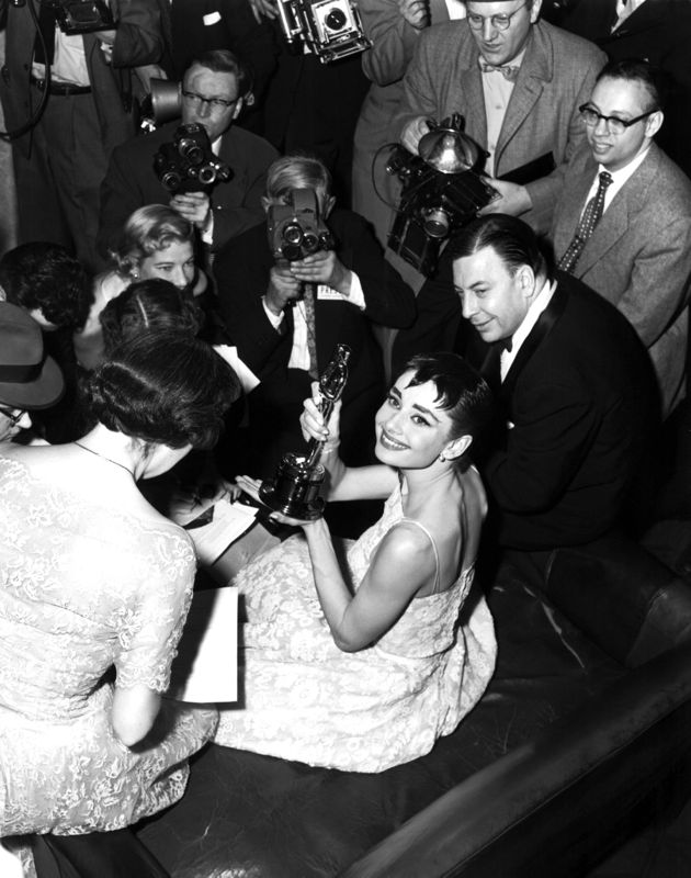 Audrey Hepburn Celebrates Winning An Academy Award