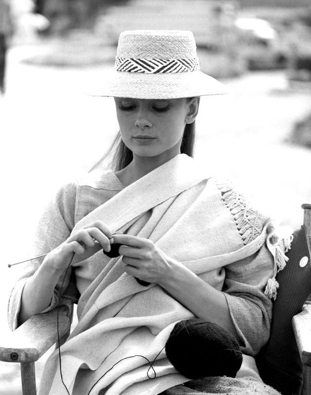 Audrey Hepburn Knitting In Between Scenes