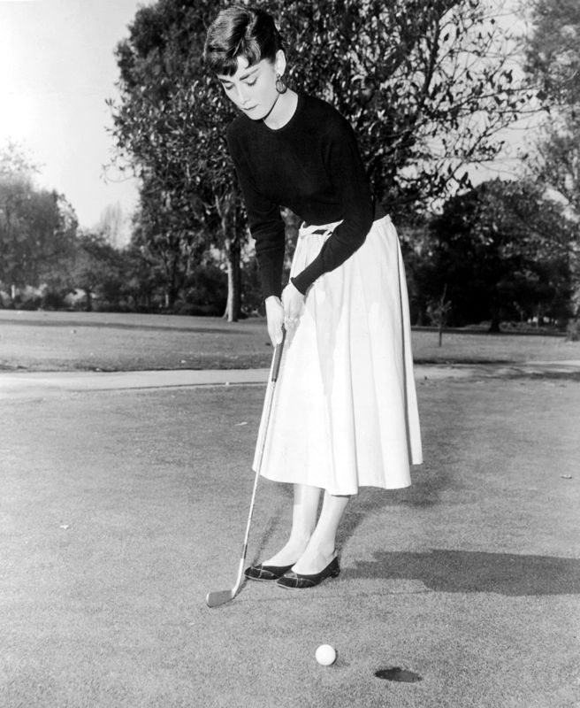 Audrey Hepburn Playing A Spot Of Golf