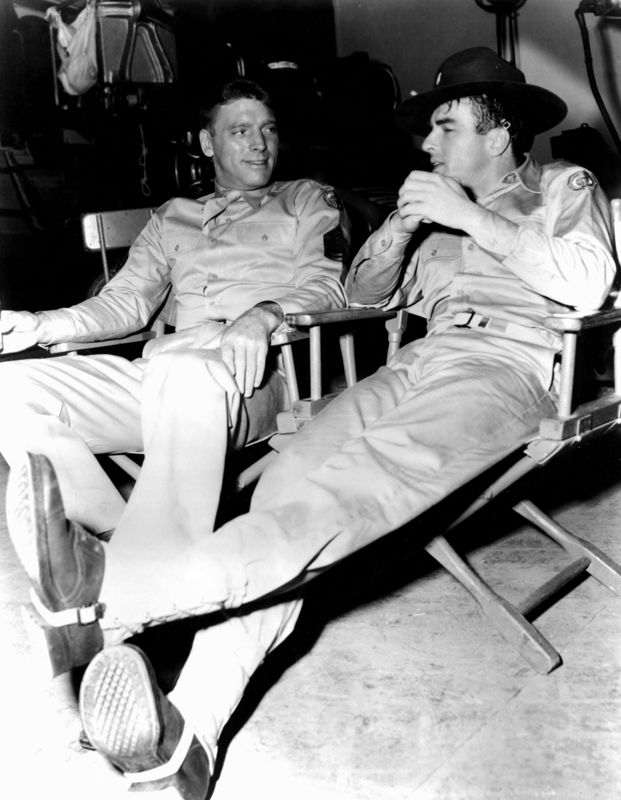 Burt Lancaster & Montgomery Clift On Set