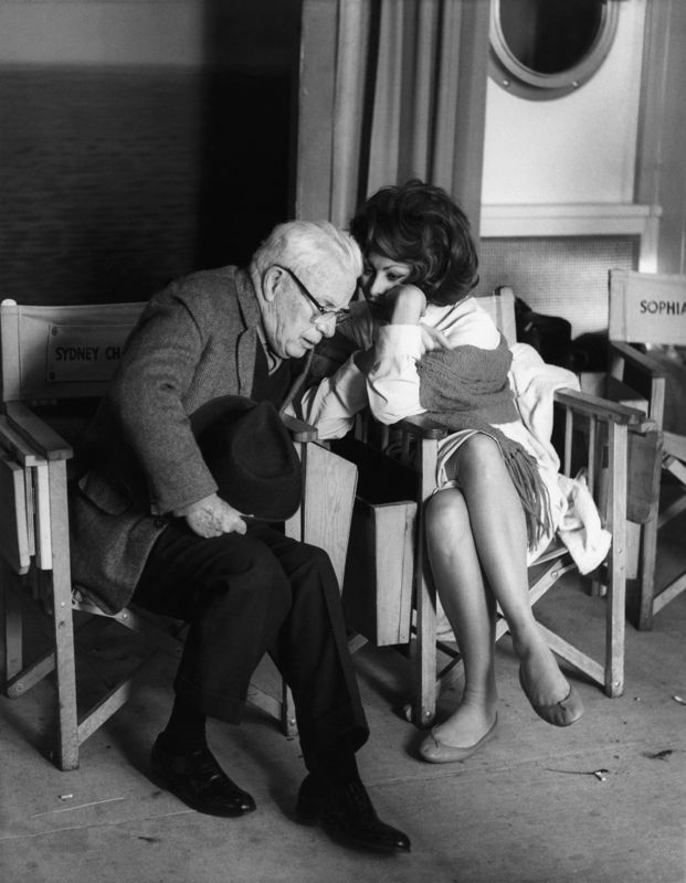 Charles Chaplin & Sophia Loren On Set