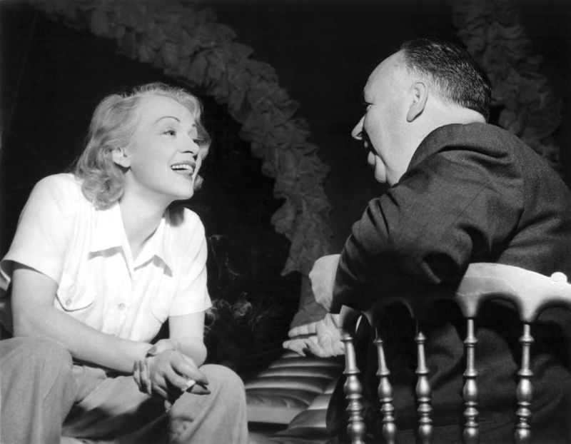 Dietrich Chats With Director Alfred Hitchcock