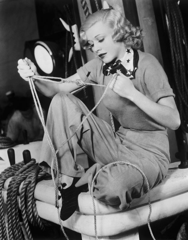 Ginger Rogers Working On Her Sailors Knots