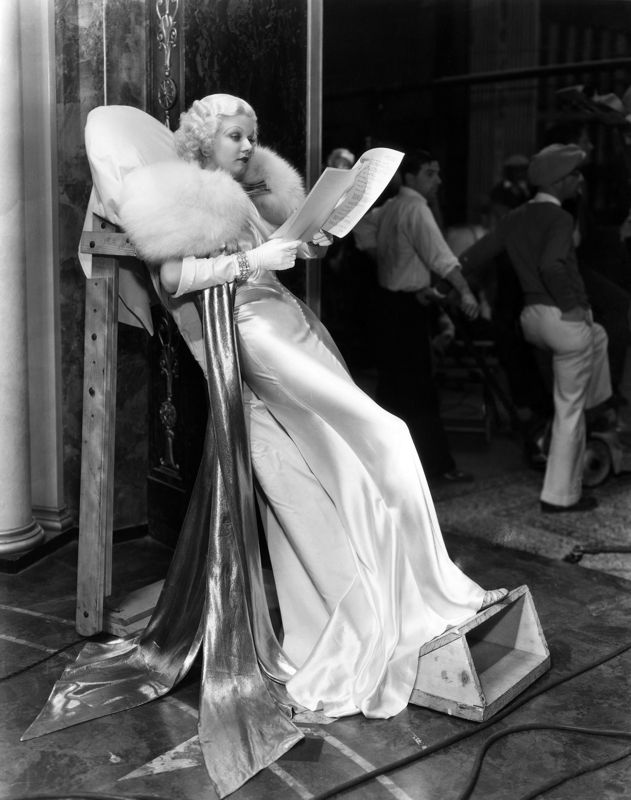 Harlow Studying Her Script