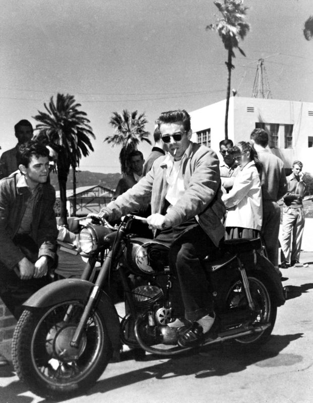 James Dean On Set Riding A Motorbike