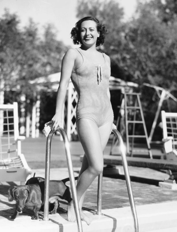 Joan Crawford Plays By Her Pool