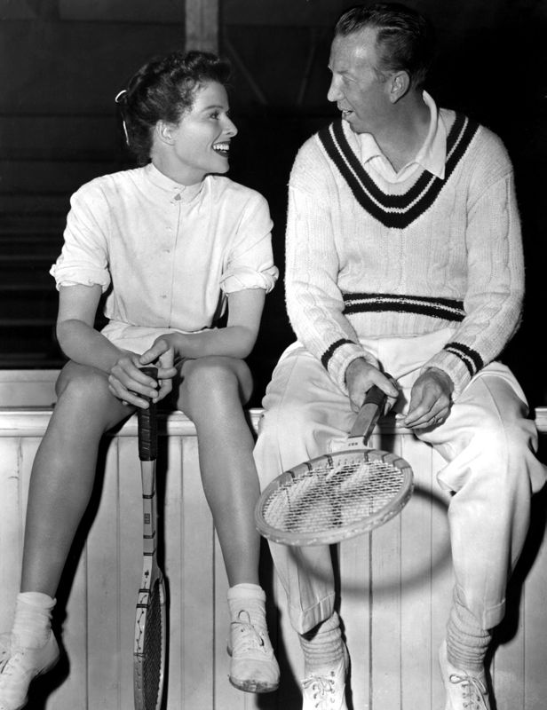 Katharine Hepburn & Don Budge In Tennis Kit