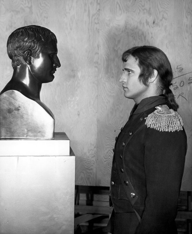 Marlon Brando With A Bust Of Napoleon