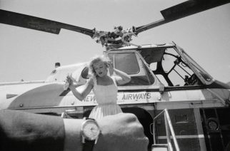 Marilyn Monroe Alights from a Helicopter