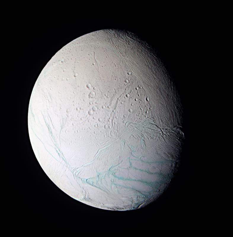 Saturn's Blue Veined Moon Enceladus