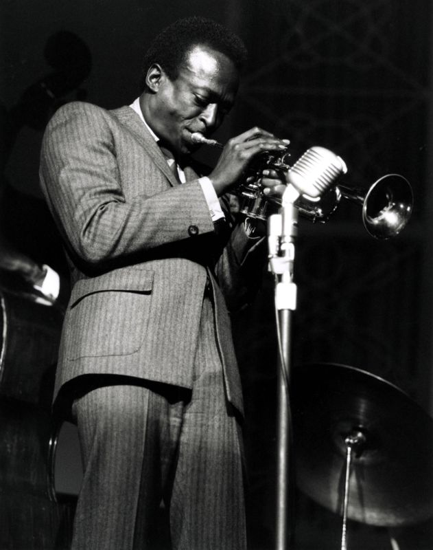 Miles Davis onstage at the Hammersmith Odeon