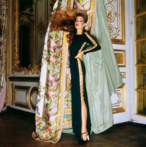 Jerry Hall, wearing Givenchy for Vogue